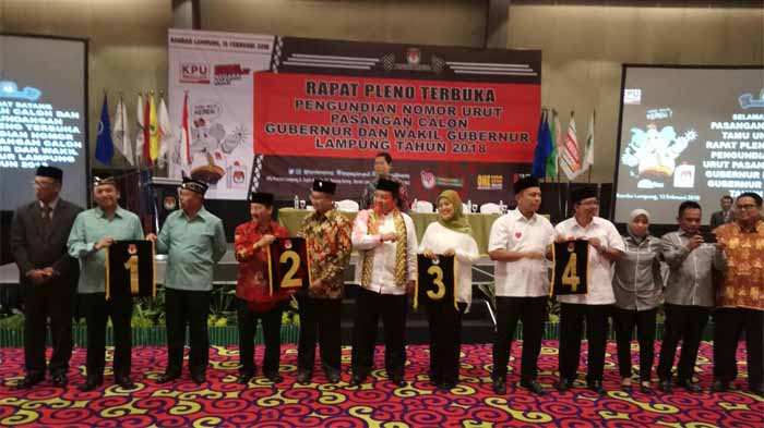 Ini Hasil Undian Nomor Urut Calon Gubernur Lampung Pilgub 2018