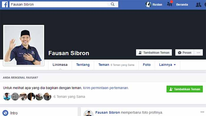Akun Facebook Fausan Sibron