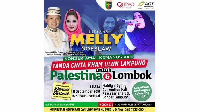 Konser Amal Melly Goeslaw, ACT Lampung: Untuk Korban Gempa Lombok