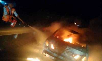Mobil Terbakar di Tol Lampung